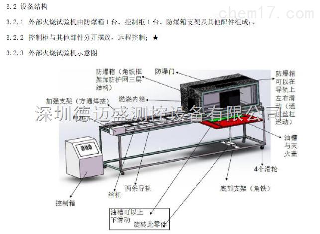 深圳德迈盛远程控制电池包外部火烧试验机