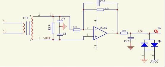 电流信号采用互感器隔离输入,将交流信号抬高后,通过放大电路将信号进